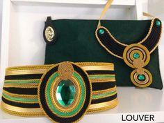 #moda#louver#cinturon#collar#pasamaneria#cordon#pasamaneria#doradoro#negro#verde#piedra#bolso#pieldepotro