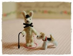 mini pipe cleaner bunny and dog - etsy artist is great -