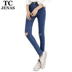 203daf14121 TC Hot Jeans Pants 2015 Womens Fall Fashion Female Denim Strech Blue Black  Skinny Hole Ripped Pencil High Waist Plus Size