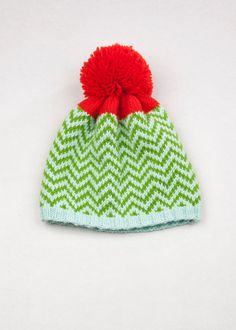 Patterned Pom Pom Beanie Diamond by WhiteLodgeKnitwear on Etsy