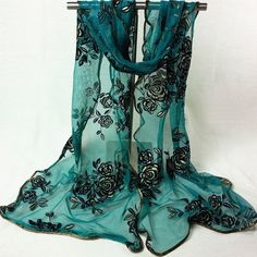 Chic Shinning Rose and Leaf Embroidery Covered Edge Women's Georgette Scarf #jewelry, #women, #men, #hats, #watches, #belts
