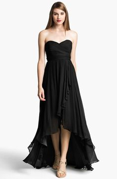 Jenny Yoo 'Shiloh' Strapless High/Low Silk Chiffon Gown available at #Nordstrom