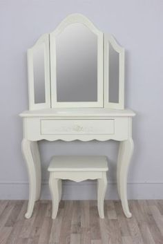 Vintage Rose Small Cream Dressing Table, Triple fold Mirror & Stool