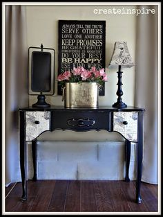 I see a lot of French Provincial furniture that looks like this, but I don't think I've ever seen a little vanity before. My client said i. Redo Furniture, Furniture Rehab, Decor, French Provincial, Painted Furniture, Black Painted Furniture, Shabby Furniture, Cool Furniture, Dyi Furniture