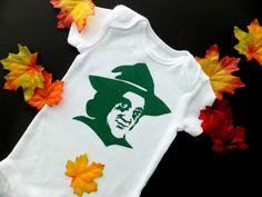 Halloween Witch Baby Bodysuit Deep Green on White Oneise