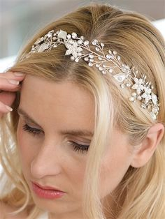 Designer Silver Bridal Vine Headband with Painted Leaves Painted Leaves, Leaf Jewelry, Hair Vine, Summer Wedding, Wedding Jewelry, Vines, Swarovski, Sparkle, Hair Accessories