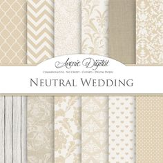 Neutral Wedding Digital Paper. Scrapbooking by AvenieDigital