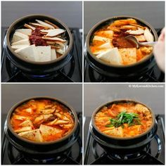 classic Kimchi Jjigae (Kimchi stew) recipe with some fatty pork. When the fat from the pork melts into the soup, it becomes irresistibly delicious! Asian Recipes, Healthy Recipes, Ethnic Recipes, Healthy Food, Easy Korean Recipes, Asian Desserts, Filipino Recipes, Easy Recipes, Kimchi Stew Recipe