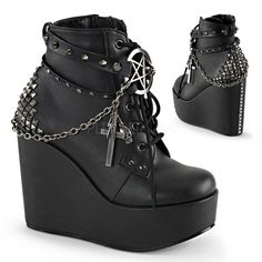 Demonia POISON-101 Women's Studded Straps Lace Up Wedge Platform Ankle Booties, Color:BLACK Vegan Leather, Size:9