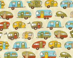 """Patchworkstoff """"On the Road"""" mit Camping-Anhängern, gelb-hellgrün"""
