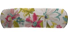 Easy Way 20 x 7 in. White Tea Print Single Piped Edge Polyester Outdoor Bolster Pillow