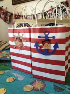 Disney Party Ideas: Jake and the Neverland Pirates party bags Pirate Birthday, Pirate Theme, Pirate Party Favors, 4th Birthday Parties, Birthday Fun, Birthday Ideas, Party Bags, Favor Bags, Goody Bags