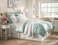 Like the functionality of this room: storage under bed, small desk workspace, reading lamps. #potterybarn