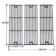 3 Pack Gloss Cast Iron Replacement Cooking Grid For Char-Griller 2222 and King Griller 5252 Gas Grill Models