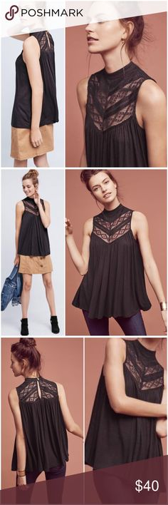 """Anthropologie Deletta Brenta Lace Tank NWT Brenta Lace Tank by Deletta Anthropologie ❤️. Rayon, spandex. Mockneck silhouette. Pullover styling. Machine washable. Deep plum/burgundy color. Length from shoulder is 28"""". Armpit to armpit is 24"""" flat. Brand New with Tag  Anthropologie Tops"""