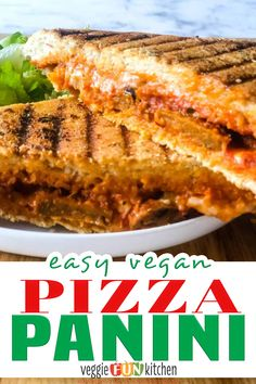 This vegan pizza panini has all the vegan fixings with vegan pepperoni and cheese. Make with pizza sauce on the inside and an Italian herb infused olive oil on the outside. Cheesy, gooey, with vegan pepperoni or sausage, it's vegan comfort food at its best! This pizza panini is made extra special with flavorful olive oil you brush on the outside of the sandwich before grilling. | @veggiefunkitchen #easyveganitalianrecipes #veganfamilydinner #vegancomfortfood Vegan Sandwich Recipes, Vegan Dessert Recipes, Delicious Vegan Recipes, Whole Food Recipes, Vegan Sandwiches, Vegan Meal Plans, Vegan Meal Prep, Vegan Pepperoni, Quick Vegan Meals