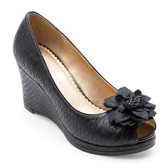 Lindsay-Phillips.com : SnapShoes : Courtney Peep Toe Wedge Black Python