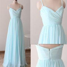 P177 baby blue chiffon sweetheart spaghetti strap long bridesmaid dress, light blue prom dresses, blue chiffon party dresses