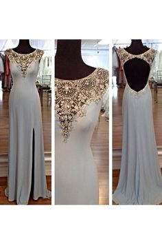Sleeveless Floor-length Sweetheart Prom Dress,Chiffon Evening Dresses,Beading Crystal Evening Gown,Backless Evening Dresses,Side Slit Evening Dress