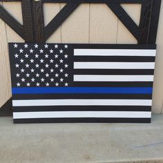 """Wood Hand Painted USA American """"Thin Blue Line"""" Police Flag by Giantfan1232 on Etsy https://www.etsy.com/listing/251613935/wood-hand-painted-usa-american-thin-blue"""
