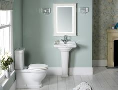 Laura Ashley paints Laura Ashley eau de nil paper and paint for our bathroom Laura Ashley Mirror, Laura Ashley Bathroom, Laura Ashley Living Room, Laura Ashley Paint, Ashley Bedroom, Duck Egg Blue Hallway, Duck Egg Blue Bathroom, Downstairs Bathroom, Small Bathroom