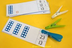 Numbers up to 30, look what we can do! We've had so much experience of using numicon and are developing a really good understanding of number past 10. Here's a little count and clip card game I use during maths warm ups and direct teaching. We have been talking about how to make 2 digit numbers using the numicon, highlighting how many tens we need and how this relates to the written numerals. #maths #numicon