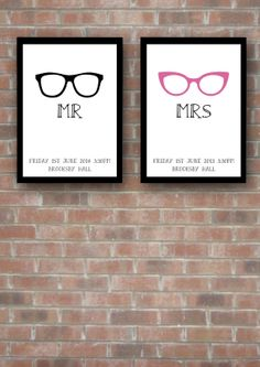 Mr and Mrs geek chic wedding print.