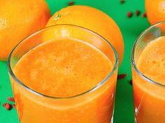 Pomerančové smoothie s mrkví a kustovnicí Smoothies, Smoothie Detox, Smoothie Recipes, Fruit Juice, Sweet And Salty, Paleo, Goodies, Food And Drink, Pudding