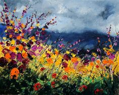 "Saatchi Art Artist Pol Ledent; Painting, ""wild flowers 45 SOLD"" #art"