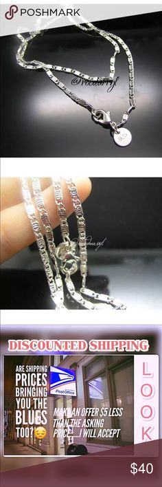 """NEW! 925 Solid Sterling Silver Link Necklace 2mm wide carved link necklace 20"""" inch long Jewelry Necklaces"""