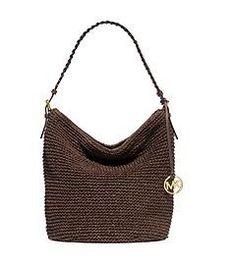 Lola Large Raffia Shoulder Bag by Michael Kors Nude Bags, Designer Shoulder Bags, Summer Bags, Braided Leather, Handbags Michael Kors, Hobo Bag, Leather Shoulder Bag, Purses And Bags, Crochet Bags