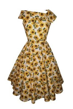Full circle sleeveless 'Penny' in sunflowers on ecru. 1950s vintage style dress.
