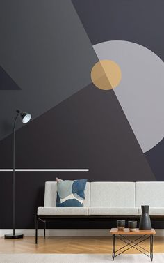 This classic collection of sophisticated wallpaper makes the stylish living room perfect. Geometric Wall Paint, Geometric Wallpaper Murals, Geometric Shapes, Modern Wall Paint, Geometric Decor, Wallpaper Wallpapers, Mid Century Modern Wallpaper, Mid Century Modern Living Room, Room Wall Painting