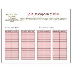 Bid Sheet Template Using Bidder Numbers