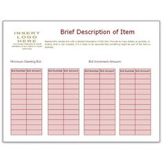 Bid Sheet Template Using Bidder Numbers