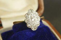 A beautifully shaped diamond cluster ring circa 1920. Online now. CJAntiquesLtd.com #showmeyourrings