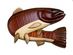 Steelhead fish wood intarsia magnet Handcrafted from all different types of wood - no colored stains applied. Target Home Decor, Cute Home Decor, Fall Home Decor, Thanksgiving Home Decorations, Intarsia Wood Patterns, Wood For Sale, Home Decor Catalogs, Intarsia Woodworking, Wooden Crafts