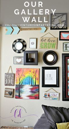 My living room gallery wall is my artistic pride and joy. An extension of my love for art (and simultaneously a great way to display it). Man Cave Inspiration, Home Organization Hacks, Need Love, Creative Storage, Forever Love, Homemaking, Gallery Wall, Joy, Crafty