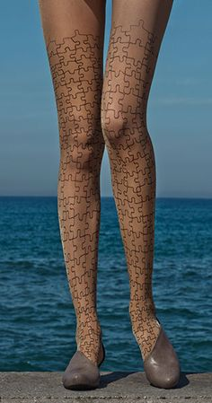Full Puzzle Print Sheer Tights body color & Black from #TrendyLegs