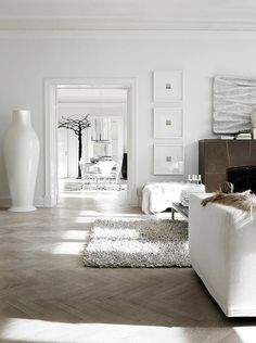 White living room with textural accent.