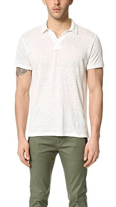 VINCE Vince Men'S Linen Short Sleeve Polo Shirt. #vince #cloth #