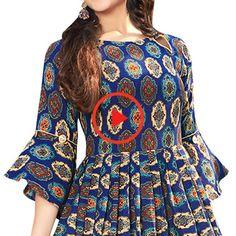 Kurti Sleeves Design, Kurta Neck Design, Sleeves Designs For Dresses, Dress Neck Designs, Stylish Dress Designs, Stylish Dresses, Short Kurti Designs, Simple Kurti Designs, Kurta Designs Women