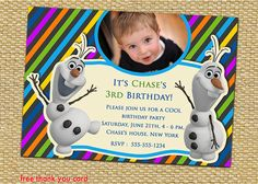 Disney Frozen Frozen Elsa Frozen Birthday by AnastasiaArtDesigns, $8.99 Frozen Frozen, Frozen Party, Disney Frozen, 3rd Birthday, Birthday Parties, Frozen Birthday Invitations, Free Thank You Cards, Decoration Party, Rsvp