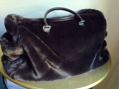 POTTERY BARN FAUX FUR TOTE DUFFLE BAG CHOCOLATE BROWN / NEVER USED picclick.com