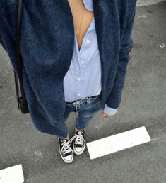 Boyfriend cardi, oxfords, denim + converse
