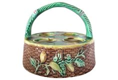 One Kings Lane - The Rich & Colorful Table - Majolica Egg Basket