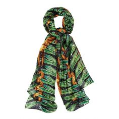 kekkai - Silk Aztec Jungle Patch (€43) ❤ liked on Polyvore featuring accessories, scarves, green scarves, silk scarves, pure silk scarves, silk shawl and bright shawl