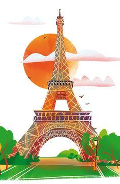 La tour Eiffel  © Pioupiourico - illustration Georgia Noël-Wolinski. #culturefrançaise #france #patrimoine #jeu #enfant #famille #transmission #memo #memory #familyfirst Monuments, Transmission, Illustrations, Tour Eiffel, Georgia, Tower, France, Gaming, Kid