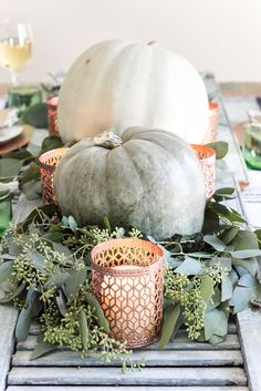 Green and Copper Thanksgiving Tablescape + Printable | blesserhouse.com - How to style a Thanksgiving tablescape using dollar store finds and repurposing typical items around the house for inexpensive holiday decor + free Thanksgiving placecard printable! popular pin