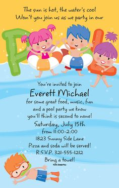 Pool party swimming birthday invitation birthday party ideas are having a pool party for your little fish this is a great way to send your news a perfect invitation for a swim party or water park get together stopboris Gallery